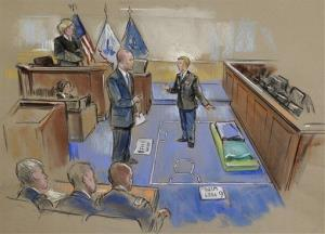 In this courtroom sketch, Bradley Manning, center, describes a layout of his pretrial confinement cell in a Quantico, Va., Marine Corps brig while testifying yesterday.