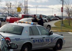 Police investigate the attacks at Casper College on Friday morning in Casper, Wyo.