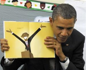President Obama reads a book about his dog Bo in this 2011 file photo.