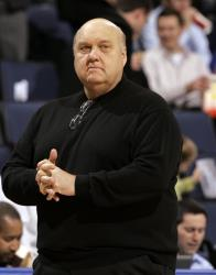In this Jan. 14, 2009, file photo, Saint Louis coach Rick Majerus stands on the sidelines during the first half of a basketball game against Massachusetts in St. Louis.