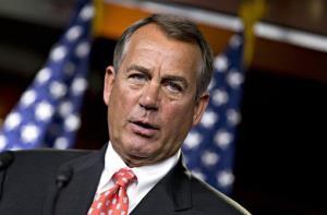 House Speaker John Boehner speaks to reporters on Capitol Hill, Thursday, Nov. 29, 2012, after private talks with Treasury Secretary Tim Geithner.