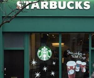 Pedestrians walk past a branch of the Starbucks cafe chain in west  London, Monday, Dec.  3, 2012.