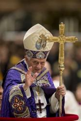 Pope Benedict XVI leaves at the end of a Vespers prayer in St. Peter's Basilica at the Vatican, Saturday, Dec. 1, 2012.
