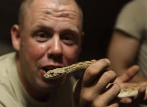 In this photo taken Tuesday, May 4, 2010, a US Army staff sergeant holds up a harmless rat snake that he found crawling around the outpost in the dark, in Afghanistan's Kandahar province.