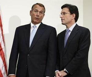 John Boehner talks with Eric Cantor on Capitol Hill, Nov. 28, 2012.