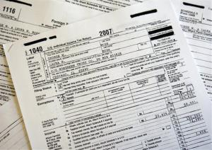 These handout images provided to The Associated Press by the White House shows President and Mrs. Bush's 2007 federal income tax forms.