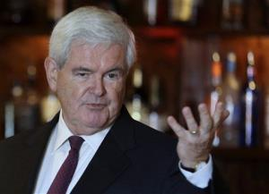 This Sept. 24, 2012 file photo shows former House Speaker Newt Gingrich speaking, in Kirkwood, Mo.