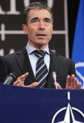 NATO Secretary General Anders Fogh Rasmussen speaks at a media conference during a meeting of NATO foreign ministers at NATO headquarters in Brussels on Tuesday, Dec. 4, 2012.