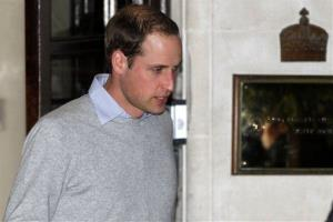 Prince William leaves the King Edward VII hospital where his wife Kate, the Duchess of Cambridge has been admitted with a severe form of morning sickness, central London, Monday, Dec. 3, 2012.