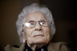 In this Feb. 1, 2011 photo, Besse Cooper, sits in her room at a nursing home, in Monroe, Georgia.