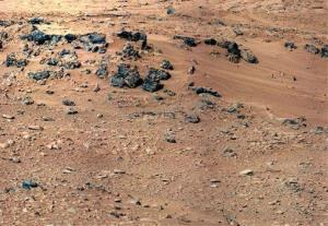 This handout image provided by NASA, taken Sept. 28, 2012,  is a mosaic of images taken by the telephoto right-eye camera of the Mast Camera before the rover arrived at Rocknest.