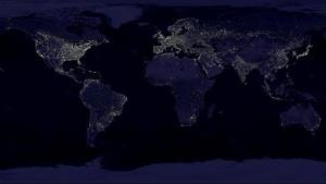 This NASA composite image shows the Earth's city lights at night.