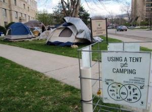In this April 2012 file photo, a handful of Occupy Boise activists remained at the group's encampment in downtown Boise, Idaho.