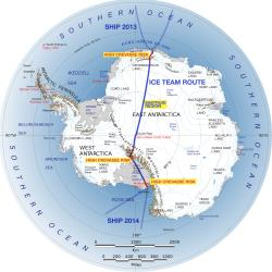 A map of the route Ranulph Fiennes and his team intends to follow to cross the Antarctic next year.