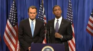 Jay Pharoah and Bill Hader in last night's Cold Open.