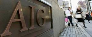 The AIG logo is seen on the side of building.