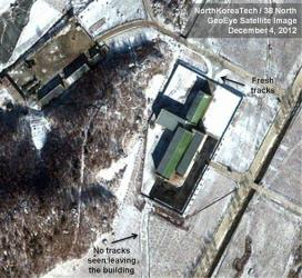 This Dec. 4, 2012 satellite image taken by GeoEye  and annotated and distributed by North Korea Tech and 38 North shows snow covering the Sohae launching station in Tongchang-ri, North Korea.