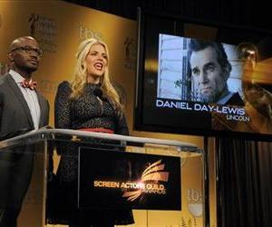 Taye Diggs and Busy Phillips announce Daniel Day-Lewis' nomination for Best Actor during the nominations for the 19th Annual Screen Actors Guild Award, Dec. 12, 2012, in West Hollywood, Calif.