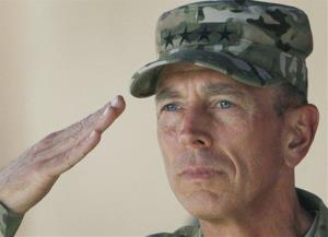 In this Monday, July 18, 2011 file photo, Gen. David Petraeus salutes during a changing of command ceremony from Petraeus to Gen. John Allen in Kabul, Afghanistan.