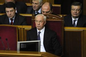 Ukrainian new elected Prime Minister, Mykola Azarov is seen in parliament, Kiev, Ukraine, Thursday, Dec. 13, 2012.