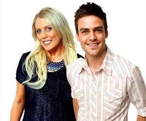 Radio hosts Mel Greig and Michael Christian pose in this publicity photo.