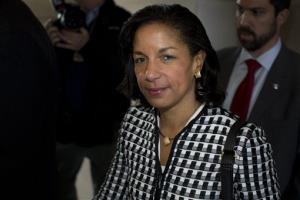 UN Ambassador Susan Rice leaves a meeting on Capitol Hill on Nov. 28.
