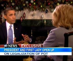 A screenshot from Barack Obama's interview with Barbara Walters.