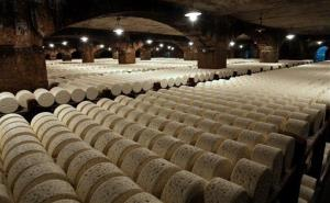 Roquefort cheeses mature in a cellar in Roquefort, southwestern France, Wednesday, Jan. 21, 2009.