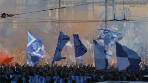 Zenit's fans march prior before a game earlier this year.