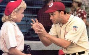 This image from Columbia TriStar Home Video shows a scene from A League of Their Own as manager Jimmy Dugan (Tom Hanks) admonishes Evelyn Gardner (Bitty Schram): 'There's no crying in baseball.