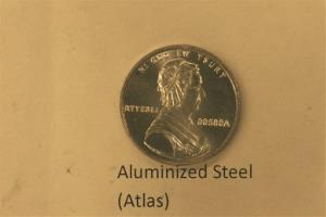 This undated photo provided on Wednesday, Dec. 19, 2012 by the U.S. Mint in Philadelphia shows is a bonneted Martha Washington on a nonsense test piece.