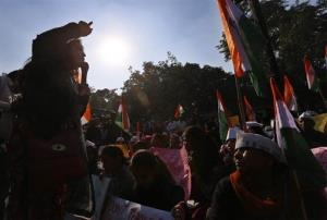 Indians stage a protest against the inefficiency of government in punishing rapists as the conviction rate in the entire country remains extremely low, in New Delhi, India.