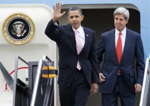 President Barack Obama and Sen. John Kerry, D-Mass. arrive at Logan International Airport in Boston, Friday, Oct. 23, 2009.
