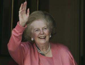 In this 2009 file photo, former British Prime Minister Margaret Thatcher waves to media.
