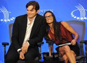 Actors Ashton Kutcher and Demi Moore in happier times on Thursday, Sept. 23, 2010, in New York.