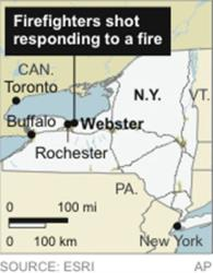 Map locates Webster, NY, where firefighters were shot