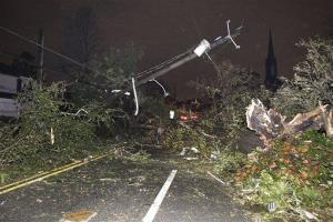 Dauphin Street in the Midtown section of Mobile, Ala. is impassable after a tornado touched down Tuesday.