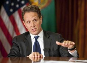 "In this Nov. 30, 2012, photo provided by CBS News Treasury Secretary Timothy Geithner answers questions about averting the fiscal cliff on an episode of  ""Face the Nation"" on Sunday, Dec. 2, 2012."