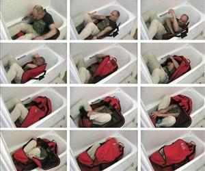 A composite of images from a video reconstruction showing a yoga specialist trying to lock himself in a sports hold all bag unaided shown to the jury during the inquest of MI6 spy Gareth Williams.