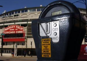 This Monday, March 29, 2004 file photo shows a parking meter outside Wrigley Field  in Chicago.