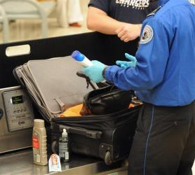 In this file photo, a Transportation Security Administration officer checks a passenger's luggage.