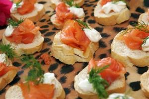 A file photo of smoked salmon on toasted rounds of bread.