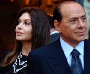 In this 2004 file photo, Italian premier Silvio Berlusconi and then-wife Veronica Lario are seen in a file photo.