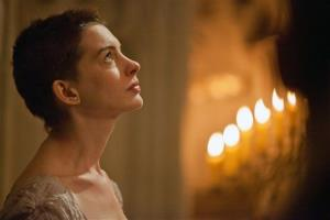 This film image released by Universal Pictures shows Anne Hathaway portraying Fantine, a struggling, sickly mother forced into prostitution in 1800s Paris, in Les Miserables.