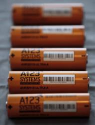 This Thursday, Aug. 6, 2009 file photo, shows A123 Systems Inc.'s high power Nanophospate Lithium Ion Cell for Hybrid Electric Vehicles batteries in Livonia, Mich.