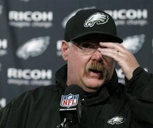 Andy Reid gestures during a news conference after the Eagles' loss to the Redskins, Dec. 23, 2012, in Philadelphia.