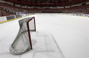 A hockey goal sits on the ice at Joe Louis Arena, home of the Detroit Red Wings.