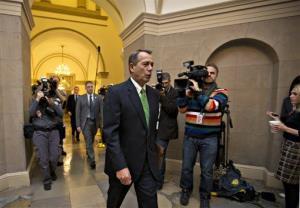 House Speaker John Boehner of Ohio arrives on Capitol Hill in Washington, Tuesday, Jan. 1, 2013.