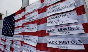 Names of Connecticut school shooting victims hang on a US flag on a makeshift memorial in the Sandy Hook village of Newtown, Conn., on Monday, Dec. 17, 2012.
