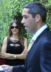 Sofia Vergara, star of ABC's hit comedy Modern Family, looks on as her fiance, Republican businessman Nick Loeb, right, speaks during a news conference, Thursday, Nov. 17, 2011 in Miami Beach, Fla.